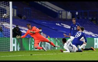 Chelsea's Mason Mount (19) scores his side's second goal of the game during their UEFA Champions League semi-final second-leg match against Real Madrid at Stamford Bridge in London, England, yesterday.