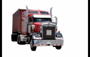 An 18-wheel articulated truck.