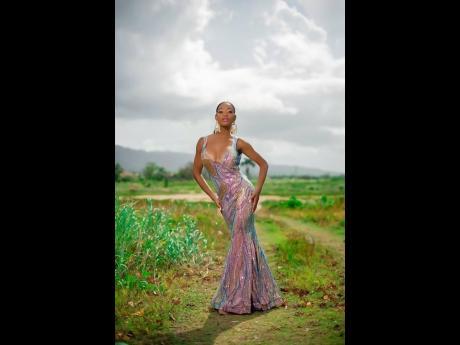 Lawnda Jackson in a dress designed by Ernesto Castro.